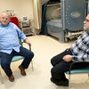 With his physician, Dr. B.A. Pontani, present and pictured right, diabetes patient Jim Cummings, left, talks on Tuesday about the hyperbaric treatments he underwent to heal a diabetes-related wound on his foot at Mercy Wound Care and Hyperbaric Medicine. Pontani is the medical director for Mercy Wound Care and Hyperbaic Medicine. <br /> Globe | Laurie Sisk