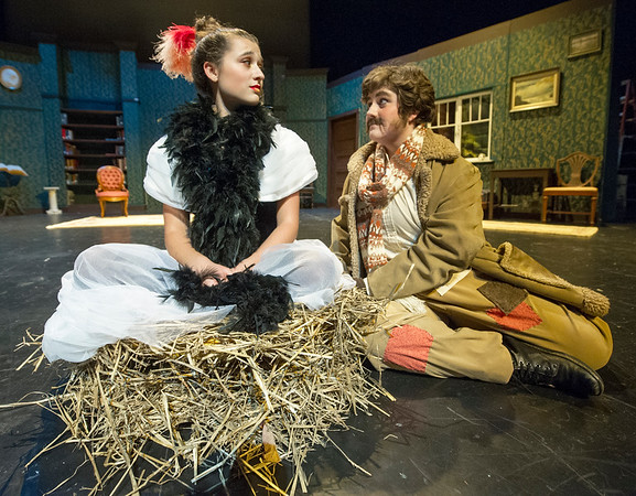 "Zoe Marshall plays the ""Moor-hen"" to Tori Frazee's ""Mastiff"" during rehearsal for Cottey College's production of ""The Moors"" on Tuesday night at Cottey College.<br /> Globe 