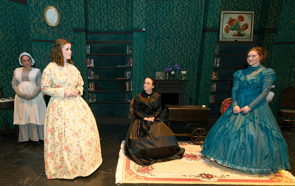 "From the left: Cheyenne Hensley (Marjorie,) Catherine Nolan (Emilie,) Carley Bader (Agatha) and Bridgett McKeon (Huldie) rehearse for Cottey College's production of ""The Moors"" on Tuesday night at Cottey College.<br /> Globe 