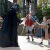 Seven-year-old Peyton Vanderpool, right, battles Darth Vader during Jedi training on his Make A Wish trip to Florida.<br /> Courtesy photo