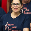Show-Me Harmony member Heather Hamilton, of Carl Junction, rehearses with the chorus on Thursday night at the Joplin Family Worship Center in preparation for their Nov. 12 concert at Ozark Christian College.<br /> Globe | Laurie Sisk