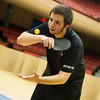 Globe/Roger Nomer<br /> Aaron Patrick serves while practicing on Monday with the Joplin Table Tennis Club at Memorial Hall.