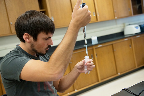Globe/Roger Nomer<br /> Brad Meier, a Missouri Southern senior from Joplin, works on a lab in Molecular Biology on Thursday.