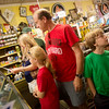Globe/Roger Nomer<br /> Lori, Sydney, 10, Rick and Zac, 10, Zastrow, Orange Park, Fla., look around Nelson's Old Riverton Store during a visit on Monday.
