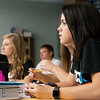 Globe/Roger Nomer<br /> Makayla Donham, junior, answers a question during English class on Thursday at Carl Junction High School.