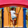 Globe/Roger Nomer<br /> Makenzie Bernagozzi, 4, plays on Monday at the Family Y Heritage Center in Webb City.