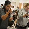 Globe/Roger Nomer<br /> Destinee Salyer, a Missouri Southern senior from Sarcoxie, left, and Amanda Wallace, a junior from Webb City, work on a lab in Molecular Biology on Thursday.