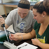 Globe/Roger Nomer<br /> Megan Robinson, a Missouri Southern senior from Olathe, left, and Lauren Quick, a junior from Nevada, work on a lab in Molecular Biology on Thursday.