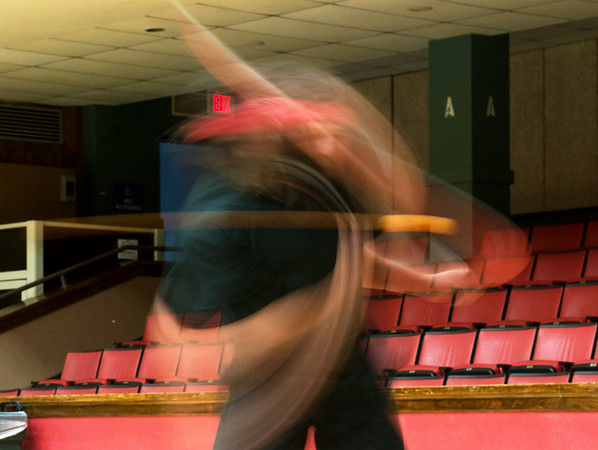 Globe/Roger Nomer<br /> Sage Crane is a blur while practicing on Monday with the Joplin Table Tennis Club at Memorial Hall.