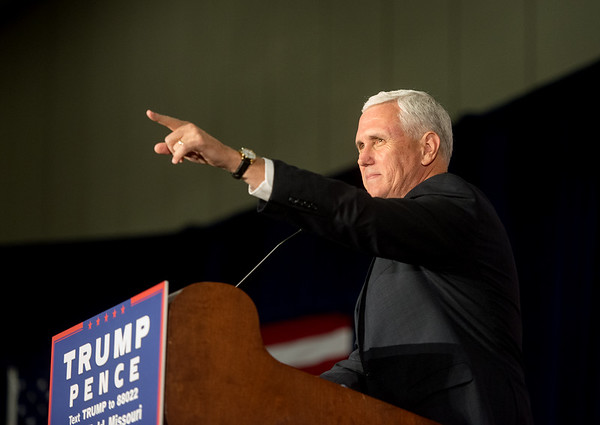 Globe/Roger Nomer<br /> Republican vice presidential candidate Gov. Mike Pence acknowledges the crowd's response before a speech at the Springfield Exposition Center on Tuesday.