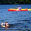 BEN GARVER — THE BERKSHIRE EAGLE<br /> Mia Dinnie, age 4, keeps cool at Onota Lake in Pittsfield. Monday, July 27, 2020.