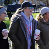 Lynn, Ma. 11-20-17. Nicole Pistone,left, Angela Dandreo, and Lauren Tansey of District 45, scope out the field of play before the start of the restaurants gridiron battle today.