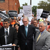 Lynn, Ma. 8-14-17. Mike Vartabedian, IAM Local 264 Business Agent, U.S. senator Edward Markey, and State Senator Thomas McGee at the union protest at the Lynn MBTA garage on Western Ave.