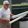 Saugus, Ma. 8-14-17. Bob Davis with the down spout that was destroyed by vandals at World Series Park.