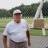 Saugus. Ma. 8-14-17. Bob Davis with the down spout that was destroyed by vandals in World Series Park.