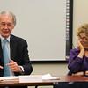 Lynn, Ma. 8-14-17. U. S. Senator Edward Markey talking at the Lynn Community Health Center at Lori Berry listens.