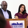 Lynn, Ma. 8-3-17. Jean Marie Kabukanyi and Andie Salvador Bonilla, two students from the Pay for Success Project, spoke at the launch of the program at 10 Church Street.