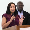 Lynn, Ma. 8-3-17. Andie Salvador Bonilla, and Jean Marie Kabukanyi, two students from the Pay for Success Project, spoke at the launch of the program at 10 Church Street.