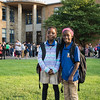 Nayo Kalisa, 7, left, and Marthene Guerrier, 8, are all smiles as they get ready to start their school year at the Julia F. Callahan School on Wednesday.