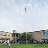 Students and parents gather in fron of the Julia F. Callahan School for the start of the school year Wednesday morning.