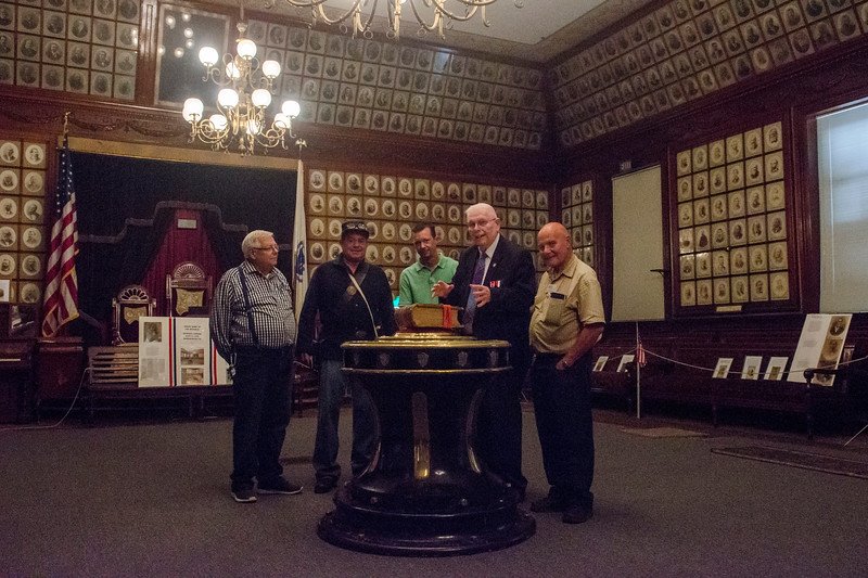Sept. 16, 2017. Grand Army of the Republic Museum tours, Lynn. Dexter Bishop, second from right, tells, from left, John Gilbert, Richard Parker, Joshua Goodman and Douglas Maitland, about an artifact from the USS Kearsarge.
