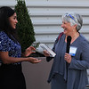 Lynn, Ma. 8-31-17. Saritin Rizzuto, left, presenting Excellence in Literacy Leadership Award to Jan Plourde, Founder & CEO The REAL Program.