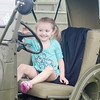 09/16/2017. Military and Veterans Appreciation Day, World Series Park, Saugus. Ava Quagenti beeps the horn in a military vehicle on display.
