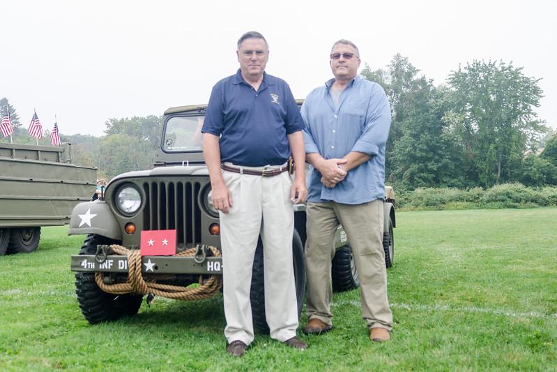 09/16/2017. Military and Veterans Appreciation Day, World Series Park, Saugus. John Deyermond, left, and Jim Deyermond enjoyed the military vehicles parked outside World Series Park.