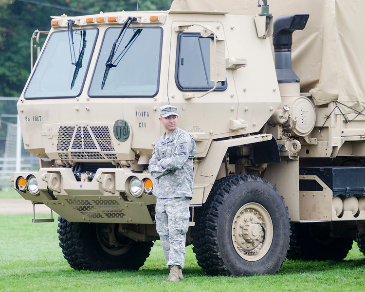 09/16/2017. Military and Veterans Appreciation Day, World Series Park, Saugus. SPC John Bates hangs out in front of one of the many military vehicles on display at World Series Park.