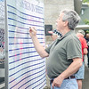 09/16/2017. Military and Veterans Appreciation Day, World Series Park, Saugus. John J. Peterson signs the sign-in sheet for veterans and military members.