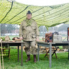 09/16/2017. Military and Veterans Appreciation Day, World Series Park, Saugus. Dave Savoie, a WWII reenactor, displayed all kinds of military artifacts and pieces of history.