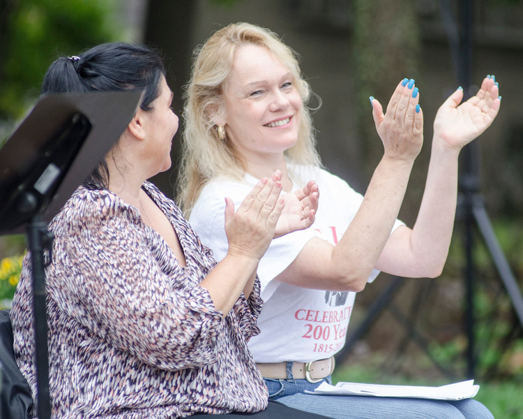 09/16/2017. Round Hill Historical Site, Saugus. Bicentennial anniversary of the incorporation of Saugus and time capsule burial. Sherri Raftery, left, and Debra Panetta applaude the performance of the Saugus High Improv Troupe.