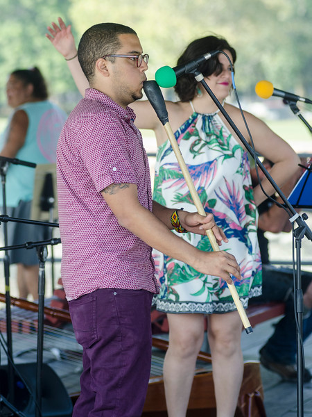 Sept. 16, 2017. Lynn Heritage Park. Lynn World Music Festival. Isaac Matus Rodríguez, of the group Con Sabor Colombianos, plays the kuisi, a type of flute.
