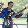 Sept. 16, 2017. Lynn Heritage Park. Lynn World Music Festival. Javier Rojas, of the group Con Sabor Colombianos, plays the bass guitar.