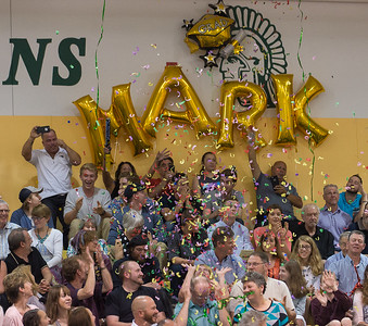Family and friends of Oakmont senior Mark Cerasulo celebrate with air horns and confetti as he recieved his diploma during Commencement. SENTINEL&ENTERPRISE/ Jim Marabello