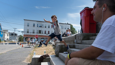 A young attendee at the Frankie Fortuna Skate Challenge tries to emulate the mid-air moves of the contestants. SENTINEL&ENTERPRISE/ JIm Marabello
