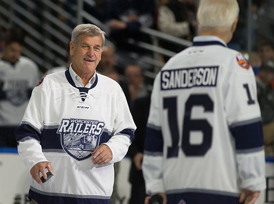 Boston Bruins legend Bobby Orr walks to center ice to meet former teammate Derek Sanderson for the ceremonial puck drop before the Worcester Railers vs Manchester Monarchs game at the DCU Center. Saturday November 11, 2017 [Photo/Jim Marabello]