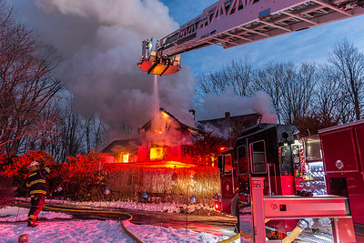 WINCHENDON - Firefighters battle a 2nd Alarm fire on Front Place. Thursday, December 21, 2017 [Photo/Jim Marabello]