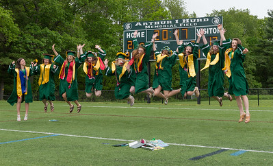 A bevy of Best Friends; (l-r) Brianna Richard, Jayme Davis, Kaylin Ciesluk, Emily Buchanan, Bridget Sheehan, Chloe O'Hara, Chanelle Goguen, Maura LeBlanc, Megan Lupinkski and Taylor Ladue get some air after the  Oakmont Regional High School Class of 2017 Commencement. SENTINEL&ENTERPRISE/ Jim Marabello