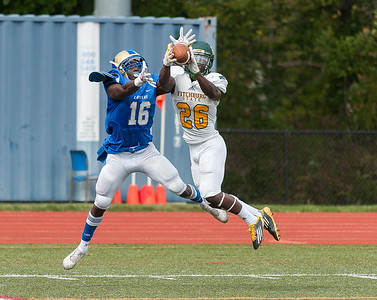 Fitchburg State's Mory Keita intercepts a pass intended for Worcester State's Kharif Pryor Saturday September 16, 2017.