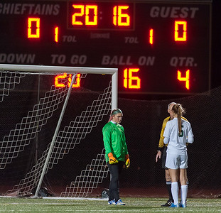 Nashoba Keeper Theresa Don stares down Wachusett's Sara James at the beginning of Penalty Kicks, which Nashoba won to become Div I Soccer Champions.