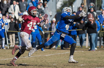 FITCHBURG - Leominster reciever Brian Rodriquez can't quite get to a pass while being covered by Fitchburg's Ryan Menegus in their Thanksgiving Day Classic. November 23, 2017. [Photo/ Jim Marabello]