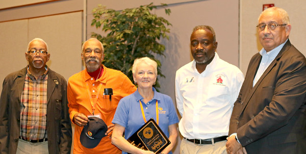 L to R: Vernon Heath, Small Farm Agent of the Year; Dennis Harvey, Small Farm Volunteer of the Year; Susan Hill, Small Farmer of the Year, Glyen Holmes, Small Farm Outreach Program Conference guest speaker; and William Crutchfield, Small Farm Outreach Program director