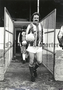 Danny Doran. Leads Newry Town team out on first home game in Irish Senior Football at Showgrounds against Portadown