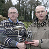 First competion winner of the warrenpoint /Rostrevor Angling Clubs summer season is Jimmy Hagarty (left) receives the Fresh water Cup from Seamus Russell (chairman).Jimmy landed 5 fish weighing 9lbs 12ozs.05W11S61.