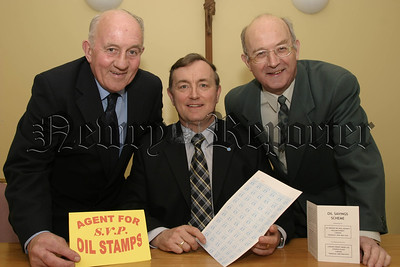 Launching the new oil stamps saving scheme are, l-r, Michael Boyle ( president sacred heart conference, SVDP), Micheal Murphy ( president,st josephs conference) and Louis O'Donnell (st josephs conference).05W16N60.