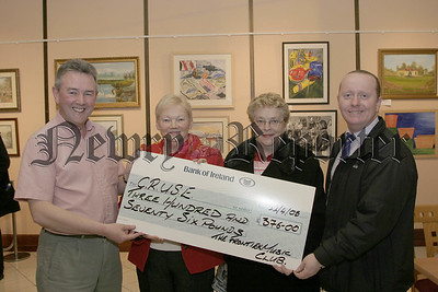 Preceeds From the sale of  CDs donated by visiting artists who performed in Sean Hollywood Arts Centre was presented to Alice Clifford and Marie Smyth representing C.R.U.S.E. by Andy Peters (frontier music club ) and Mark Hughes (arts centre), 05W16N53.