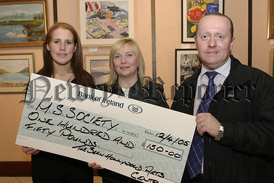 Proceeds collected from the Easter Draw, At Sean Hollywood Arts Centre, Was presented to Jackie Turley  representing Newry M.S Society by Sonya Fegan and Mark Hughes, 05W16N52.