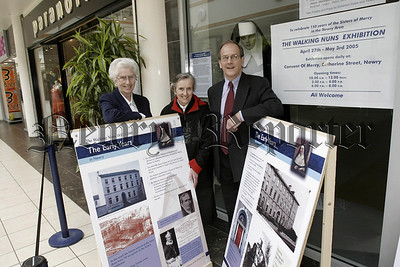 Walking Nuns Exhibition in Buttercrane Centre,LtoR. St Perpetua, Sr De Lourdes,Anthony Russell.05W16N5