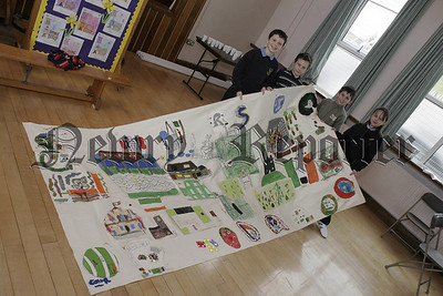 P7 pupils from St Patricks PS Newry, and pupils from Scoil Mhuire Co. Monaghan who  took part in a Cross Border exchange project organised by Cooperation Ireland. In picture. Chelsea Finnegan, Ryan Delaney, Caomhin Mc Laughlin, Stefan Ward. 05W16N11
